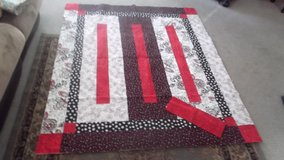 Beautiful handmade red, black and white quilt in Chicago, Illinois